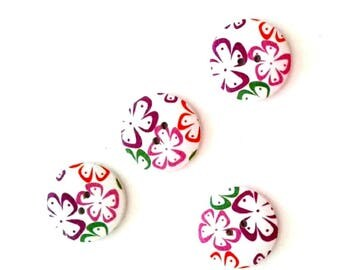 4 x 30mm Purple pink red and green wooden buttons