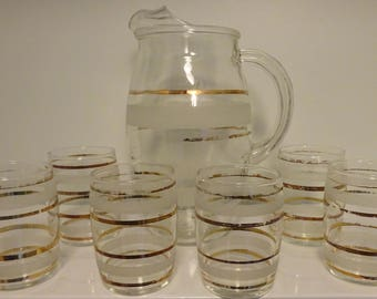 Mid Century Modern Glass Pitcher and 6 Juice Glasses-Shabby Chic-Distressed Elegance-Gold and White-Retro Fun