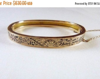 ON SALE Aesthetic Japonisme 10k yellow solid gold taille d'epargne bangle bracelet circa 1880s