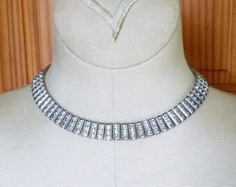 Art Deco channel set rhinestone cleopatra choker necklace with floral details
