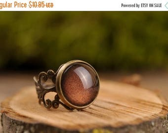20% OFF Filigree ring, brown ring, adjustable ring, statement ring, antique brass ring, glass dome ring, antique bronze ring, jewelry gift