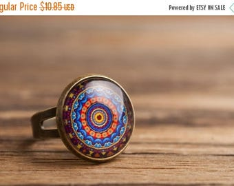 20% OFF Mandala ring, adjustable ring, statement ring, antique brass ring, glass dome ring, antique bronze ring, colorful ornament ring, som