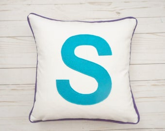 Big Block Letter Pillow Cover, Initial Pillow, Monogram, Custom Colors, Pillow with Piping, Birthday Gift, Wedding Gift, Capital Letter