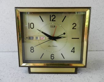 Working 1960's Elgin Alarm Clock, Alarm Calendar, Wind Up Clock, Month, Day, Date, Desk Clock, Home Decor, No. 51065, Made in Japan