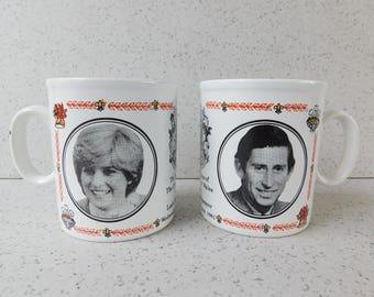 Lady Diana and Prince of Wales Wedding Commemorative Mug, Souvenir, Princess Diana and Prince Charles Marriage, British Royal Family