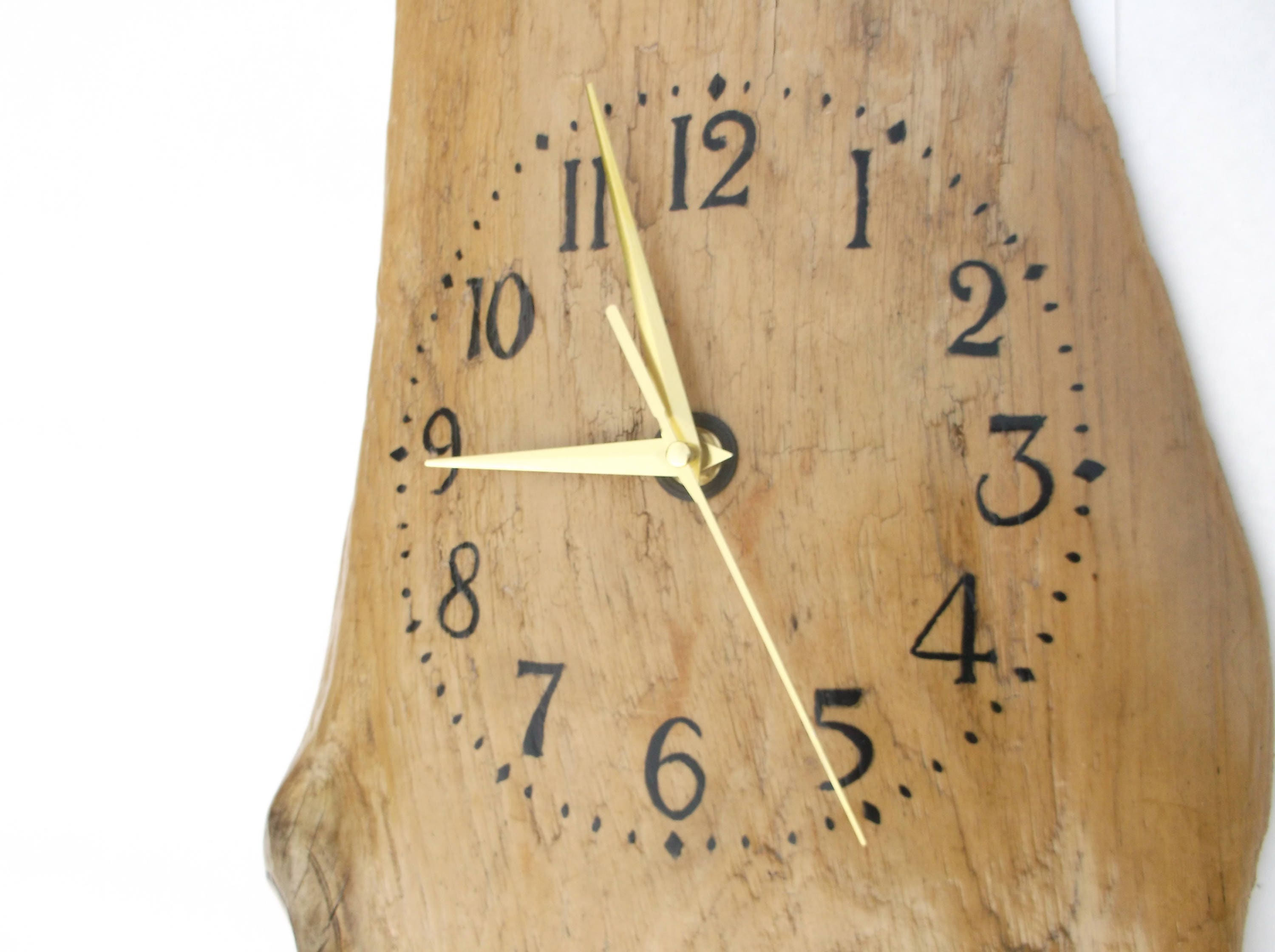 Driftwood Clock - Large Thick Solid Driftwood Clock - Hanging wall ...
