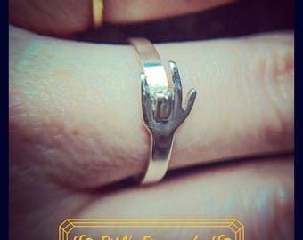 ASL I Love You Hand Ring in Sterling Silver