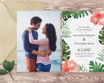 Island Save The Date Card, Destination Save the Date,  Tropical Save the Date, Photograph Save the Date, Hawaii Beach Wedding Announcement