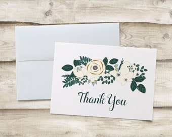 Wedding Thank You Cards, Wedding Thank You Note Cards, Wedding Thank You Folded Note Cards, Wedding Thank You Notecards, Bridal Shower