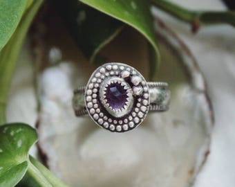 Sterling Silver Rose Cut Amethyst Ring, Purple Gemstone Ring, Handmade Sterling Silver February Birthstone Ring, Faceted Silver Ring Size 8