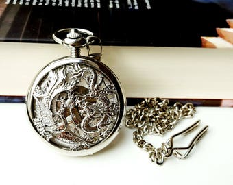 Victorian Gothic Mechanical Pocket Watch Silver Dragon and Phoenix Clamshell, Vintage Style Skeleton Pocket Watch Hand Winding