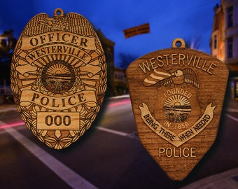 Personalized Wooden Westerville PD Badge or Shoulder Patch Ornament