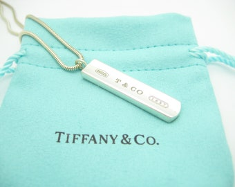 Tiffany & Co. Sterling Silver 1837 Bar Pendant Necklace Snake Chain 18""