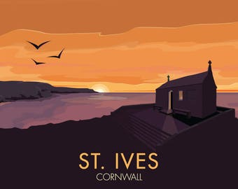 St. Ives, Cornwall, England, UK - signed travel poster print