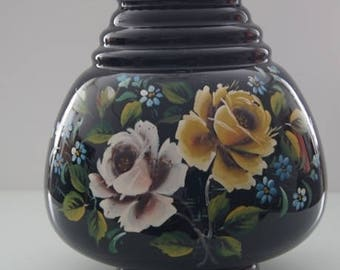 Large black vase, a hand painted atmosphere maker of the Doyen glass factory from Belgium.