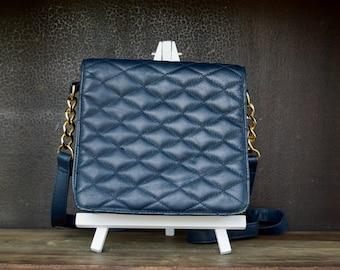 Vintage Sereta Purse, Navy Blue Organizer Cross Body Purse, Medium Sized Quilted Purse, Genuine Leather Purse, Gold Metal Strap Purse