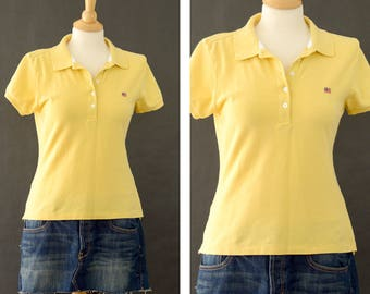 Vintage Ralph Lauren Polo Shirt, 90s Ralph Lauren Polo Jeans Co Yellow Polo Shirt, Cotton Pull Over Short Sleeve Shirt, Women's Size Medium