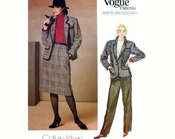 American Designer Calvin Klein Suit, Jacket, Skirt and Pants Sewing Pattern Misses Size 10 Uncut Vogue 1238