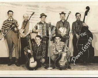 1930s BW Real Photo RPPC Postcard- The Down-Easters, with Bud Bailey, Country Music, Bluegrass, Hillbilly-  Free Shipping