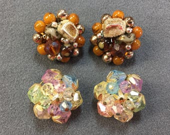 Two Pairs of 1950's Beaded Earrings Ear Clips.  Free shipping
