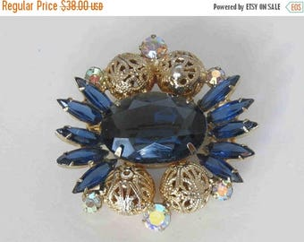 SUMMER SALE DELIZZA & Elster Juliana Montana Sapphire Filigree Brooch - Book Piece