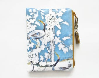 Waterproof pouch, zipper wallet, wipe clean bag, Chinoiserie , chinoise blue