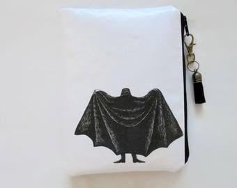 Waterproof pouch, Edward Gorey, Dracula, waterproof wallet, zipper, wipe clean bag.