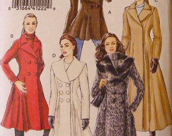 ON SALE 35% OFF Lined Fitted Overcoat Misses' Size 12 14 16 Vogue Uncut Sewing Pattern 8346