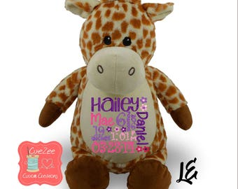 Personalized Giraffe Stuffed Animal, Personalized Baby Gift , Birth Announcement Gift, Baby Shower Gift, Cubbie, Custom, Stuffy