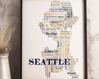 Seattle Art, Seattle Art Print, Seattle Neighborhood Map, Seattle Typography Art, Seattle Poster Print, Seattle Word Cloud