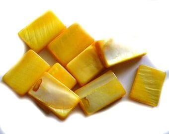 8 Yellow Rectangular Seashell Beads