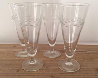 Set of 4 Vintage Etched Glass Champagne Flutes/Pilsner Glasses/Parfait Dishes