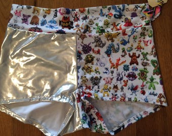 Silver Pokepants Roller Derby Shorts.