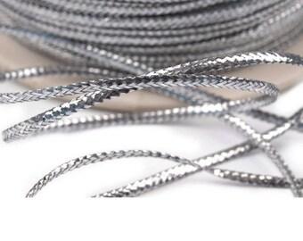 10 meters fine silver lurex cord 1 mm non-elastic