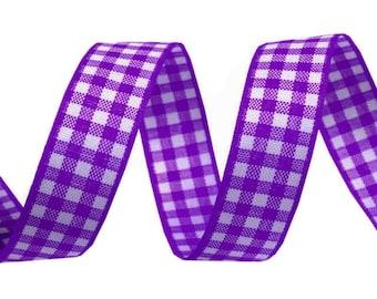 3 M 16 mm purple and white checkered gingham Ribbon