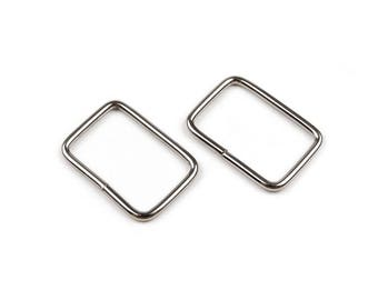 Earrings 20 mm silver rectangle 2