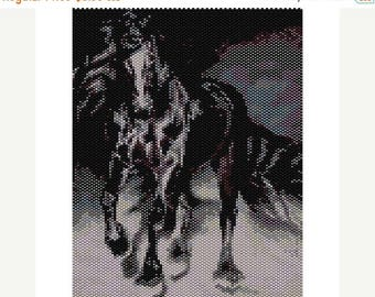 SALE HALF PRICE off Instant Download Beading Pattern Peyote Stitch Black Beauty Stallion Seed Bead Panel Pattern