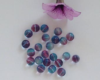 12pcs 8mm Czech glass beads light blue melon shaped Czech purple reflection