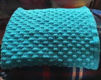 Hand Knitted Turquoise Sparkly Pram Blanket