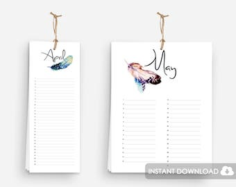 Printable Birthday Calendar with Feathers in Watercolor Art | Perpetual Birthday Annual Event Planner | Birthday Calendar Printable Download