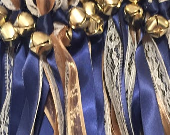 50 Wedding Wands/Wedding Ribbon Wands/Wedding Wand/Wedding Streamers/Navy, gold sheer and Natural Lace