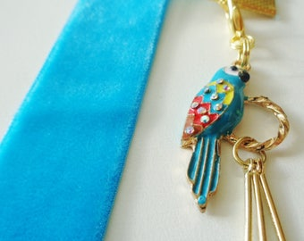 Blue Velvet Ribbon Bookmark w/Bird on Perch and Feathers