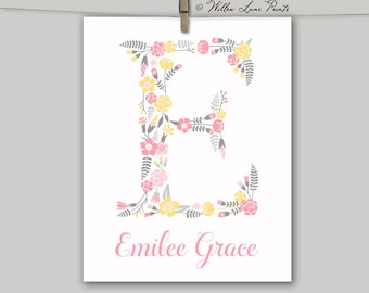 girls flower nursery art | floral monogram letter babies name - yellow, pink, gray | print or canvas nursery letters | baby girl room ideas
