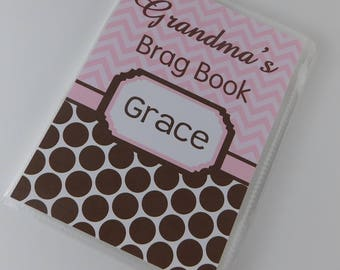 Girl Photo Album Personalized Advice Baby Shower Gift Grandmas Brag Book Pink Brown Polka Dot Chevron 4x6 or 5x7 mothers day present 012