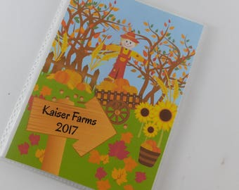 Pumpkin Patch Photo Album 4x6 or 5x7 Pictures Personalized Scarecrow Farm Class Field Trip Fall Family Vacation Autumn 788