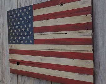 Rustic American Wooden Flag, 20 X 30 inches. Made from recycled fencing. Free Shipping E