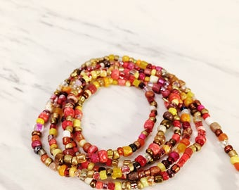Waist Beads, Single Strand | Color: Sunset |*Extended Sizes Available | Summer Body Beach Festival Jewelry - Red, Yellow Multicolor