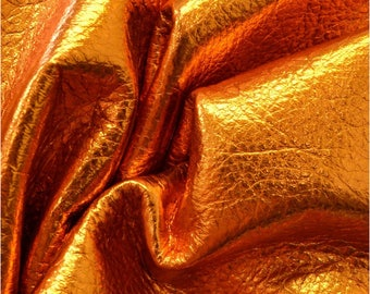 """Apricot Golden Nugget Metallic """"Vegas"""" Leather Cow Hide 4"""" x 6"""" Pre-Cut  3 ounces grainy TA-53197 (Sec. 8,Shelf 6,D,Box 2)"""