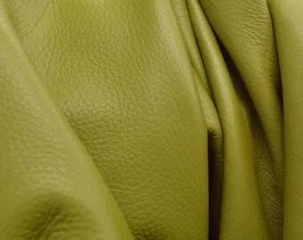 "Leather Cow hide side 25.1 sf Gallant Olive Green ""Signature"" 2 1/2 ounces flat grain DE-61553 (Sec. 9,Shelf 2,B)"