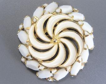 Vintage White Rhinestone Pinwheel Brooch Gold Tone